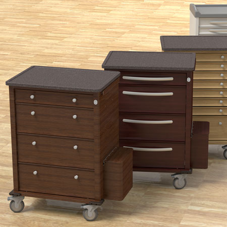 Phoenix Series Med Carts are available in a variety of sizes and finishes.